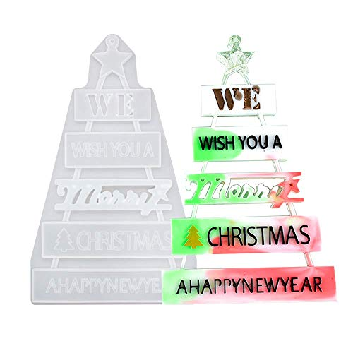 Merry Christmas Tree Silicone Jewelry Casting Mold Resin Epoxy Blow Mould Craft Decor Tool for Making Xmas Snowflake Ornament DIY Craft 3D Decorations Reindeer Star Party