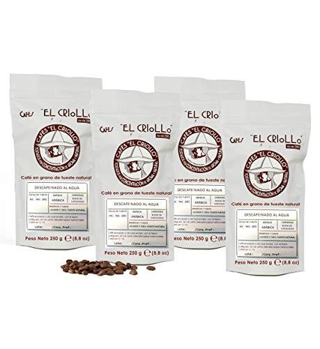 El Criollo - Café Descafeinado al Agua en Grano | 100% Arábica y Tueste Natural | Pack de 4x250 gr (1kg)