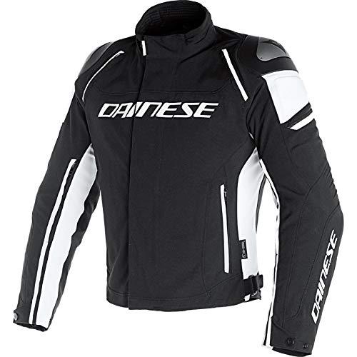 Dainese Motorradjacke mit Protektoren Motorrad Jacke Racing 3 D-Dry Textiljacke schwarz/weiß 58, Herren, Sportler, Ganzjährig