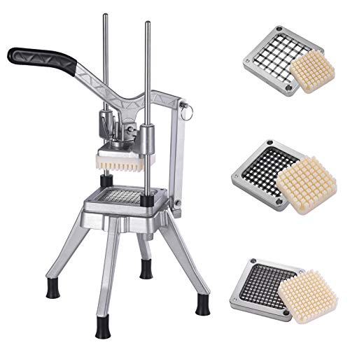 Commercial Vegetable Chopper Upgrade Style With 3 Blades, Stainless Steel Professional Food Dicer Chopper,Vegetable Fruit Dicer Easy Chopper Dicer For Onion Tomato Pepper Potato Mushrooms