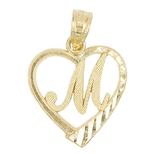 Ice on Fire Jewelry 10k Solid Gold Initial Pendant in Heart Frame with Diamond Cut Finish, Available in Different Letters of Alphabet Personalized Charm for Women (M) 10k Gold Medical Pendant