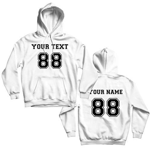 lepni.me Sudadera con Capucha Haga su Propia Camisa Personalizada Añada su Nombre Número de Texto (Large Blanco Multicolor)