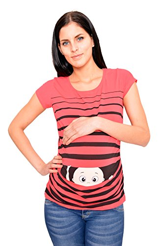 Witzige süße Umstandsmode T-Shirt mit Motiv Schwangerschaft Geschenk - Kurzarm (M, Koralle)