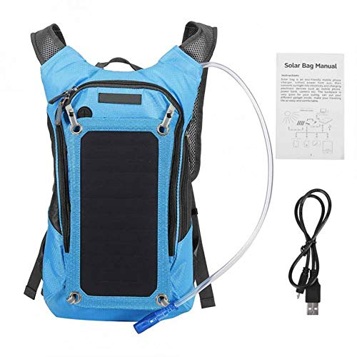 XRQ Sac à Dos Solaire 7W Panneau Solaire Charge pour Les téléphones cellulaires et 6V Dispositif d'alimentation pour Smartphones et USB-périphériques sur Le Go,Bleu