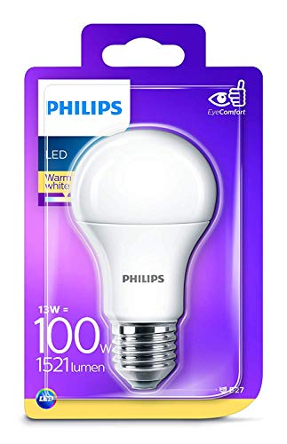 Philips Lighting Lampadina LED, Attacco E27, 13 W Equivalenti a 100 W, Luce Bianca Calda Naturale