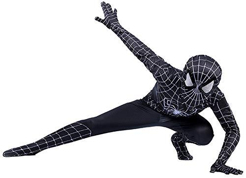 Disfraz Spiderman Niño, Spiderman Disfraz Niño, Halloween Carnaval Homecoming Superheroe Spiderman Mascara Niño Cosplay Suit Traje De Spiderman Niño, Disfraz De Spiderman Niño,Black-S(112cm~122cm)