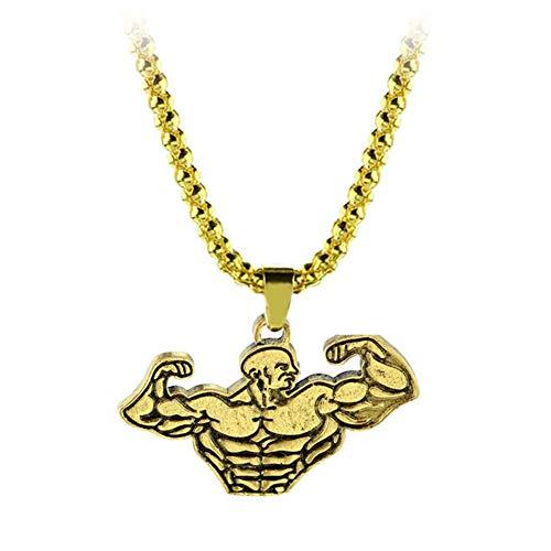 AdorabFruit Présent Pendentif Gimnasio de Fitness for Hombre Collar de Cadena de la joyería de Culturismo Deportes Encanto Collares Colgante for el Collar de Hombre (Metal Color : Xl0941)