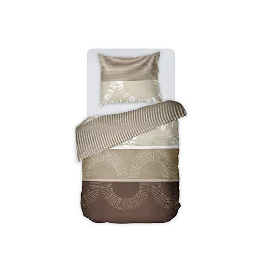 DILIOS Bettwäsche Set 135x200 cm, 2-teilig, Renforce 100% Baumwolle mit Reißverschluss, Dessin Mochaccino, Öko-Tex-Standard 100, Bettbezug 135 x 200 cm, Kissenbezug 80 x 80 cm