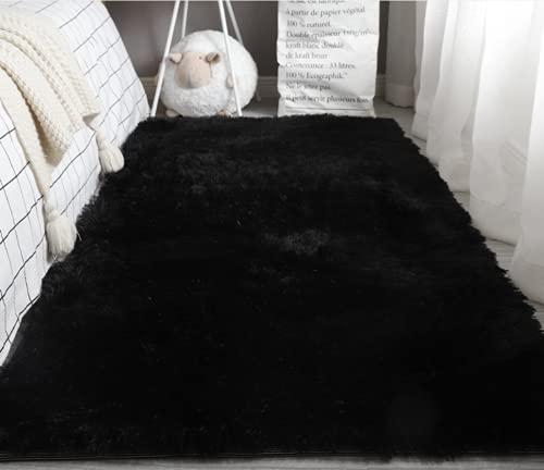 LIYINGKEJI Alfombras Modernas Super Suaves de la Pelusa, 80X120 CM, Dormitorio Sala de Estar Alfombra Antideslizante Alfombra de la Alfombra para el Juego de los niños Decora el (Negro)