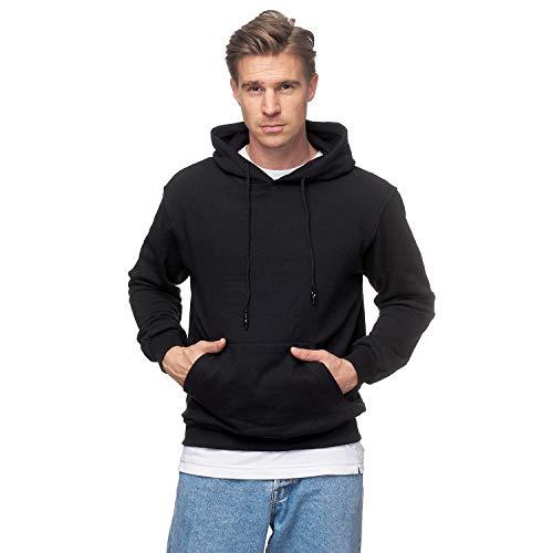 Smith & Solo Herren Kapuzenpullover – Sweatshirt Pullover Rundhals – Langarm – Slim – Fit – Training – Hoodie – Pulli – Hochwertige Baumwollmischung Männer, Schwarz-kapuze, XL