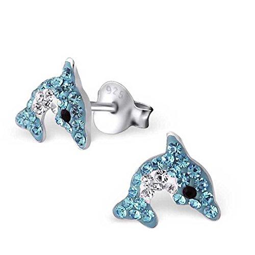FIVE-D Kinder Ohrringe Delfin aus Kristall 925 Sterling Silber im Schmucketui (Blau-Weiss)
