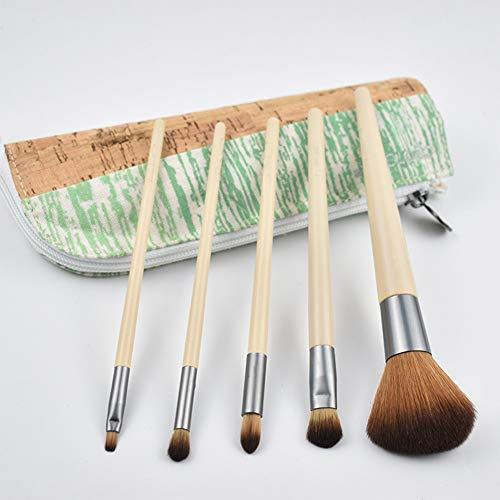 5 Pcs Brosse De Maquillage De Bambou Poignée Brosse Contour Brosse Ombre À Paupières Pour Un Usage Quotidien Avec Pack Brosse