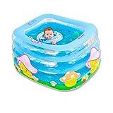 LLF Bañera Inflable, Piscina De Baño Infantil De 4 Anillos For Nadar En El Océano, Bañera De Viaje Más Gruesa Y Plegable con Bomba De Pie, For Bebés Y Niños (Color : Blue, Size : 120 * 105 * 75cm)