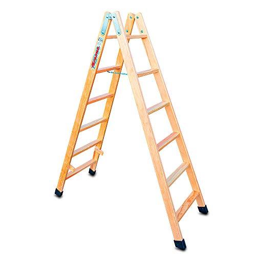 Faraone - Escalera Tijera Doble Subida - Madera Barnizada - Escalera Plegable LDB 06-6+6 Peldaños - 170x53x12 cm - Peldaños de 8 cm - Fabricada en Madera de Pino - Resistente y Duradera