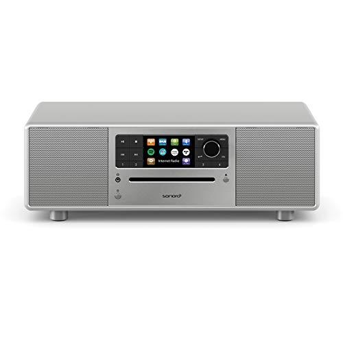 sonoro Prestige Kompaktanlage mit CD Player, Bluetooth & Internetradio (Stereoanlage, UKW, WLAN, DAB Plus, Spotify, Amazon, Deezer, Tidal, USB) Silber