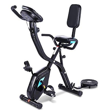 Profun Bicicleta Estática Plegable de Fitness con Respaldo Xbike Fitness con App Pantalla LCD 10-Niveles Ajustable para Ejercicio Entrenamiento en Casa (Tipo 4 Negro)