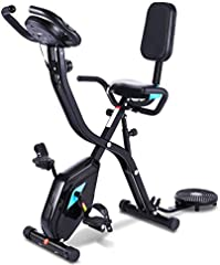 Profun Bicicleta Estática Plegable de Fitness con Respaldo Xbike con App Pantalla LCD 10-Niveles Ajustable para Ejercicio Entrenamiento en Casa (Tipo 4 Negro)