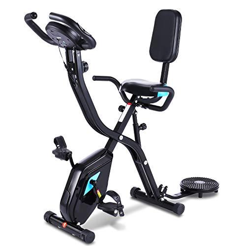 OTFINE X Bike 3 in 1, Heimtrainer mit APP, zusammenklappbares Fitnessfahrrad, 10 magnetische Widerstandseinstellungen, Pulsmessung, Handyhalterung, bis 125 kg