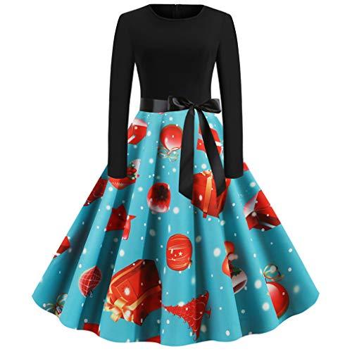 Weihnachten Kleid Damen Große Größe,Frauen Langarm Vintage 1950er Jahre Hausfrau Weihnachtskleid...