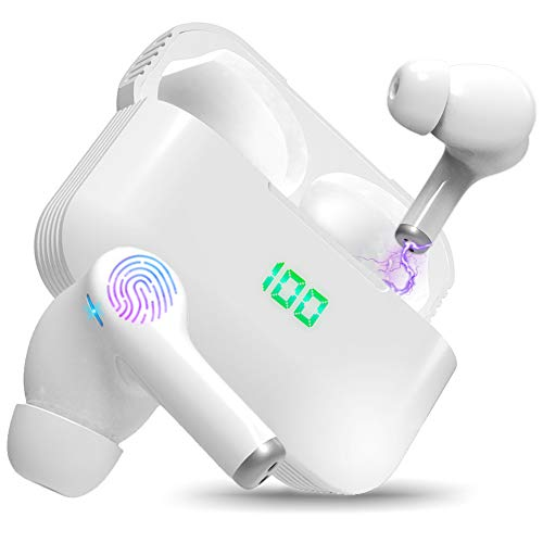 Wireless Earbuds Bluetooth Headphones HiFi Sound Quality and Wireless Charging Case Digital Intelligence LED Display IPX8 Waterproof Earphones Built-in Mic Headset Deep Bass 120H Playtime