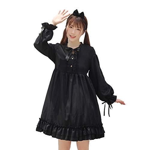 Himifashion Lolita - Kleid mit Langen ärmeln Chiffon - Kleid mit dicken schwarzen Gothic - Damen