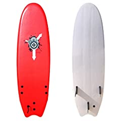 XPE foam deck surface Thick EPS core Slick HDPE bottom Slightly rubberized plastic fins
