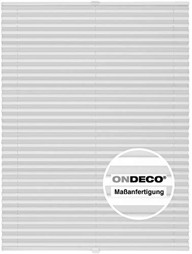 Plissee auf Maß für alle Fenster Montage Glasleiste Blickdicht mit Spannschuh Sonnenschutzrollo Weiß B: 71-80 cm, H: 101-150 cm