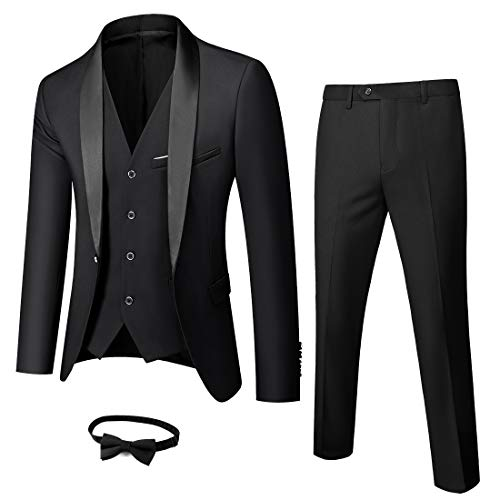 Boyland Mens 3 Pieces Tuxedos One Button Shawl Lapel Wedding Dress Suits Formalwear Black