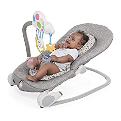 Electronic bouncer with interactive toy bar. Headrest adjustable to 3 position. Can be used in fixed or rocking mode. Removable toy pnael with voice recorder to use on your child's cot bed Super compact and light to store the bouncer and travel with ...