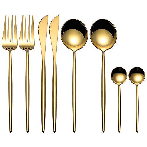 Juegos de cubiertos MORGIANA de 8 piezas, juegos de cubiertos de acero inoxidable 18/10 Juego de vajilla dorada con acabado espejo para restaurante de banquetes de boda (Oro)