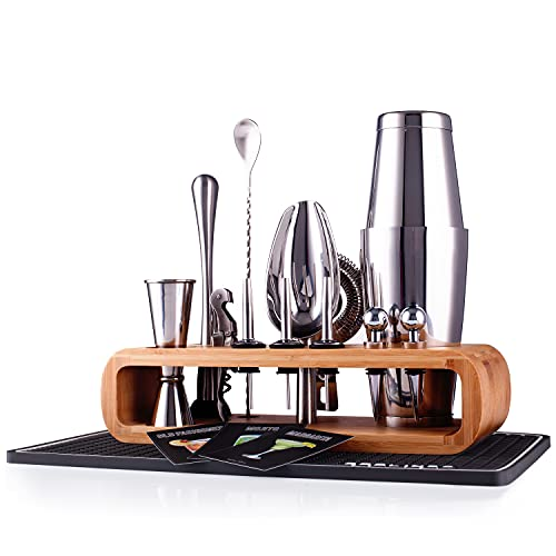 Cocktail Shaker Set - 15-Piece Stainless Steel Bartender Kit with Bamboo Stand and Cocktail Recipe Cards, Premium Mixology Bartender Kit for Home