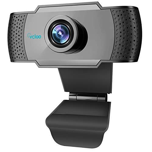 vcloo Webcam 1080P Full HD con Microfono - PC Portatile Desktop USB 2.0 Videocamera per Videochiamate, Studio, Conferenza, Registrazione, Gioca a Giochi e Lavoro a casa