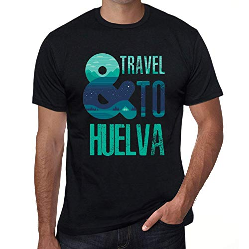 One in the City Hombre Camiseta Vintage T-Shirt Gráfico and Travel To HUELVA Negro Profundo