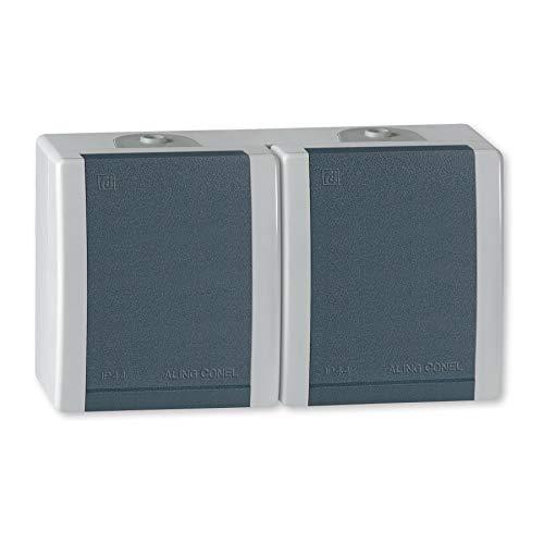 ALING-CONEL 2-fach Aufputz Schutzkontakt Steckdose mit Klappdeckel 16A/250V~ / IP44 - Grau