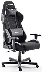 Robas Lund OH / FD01 / NG DX Racer 5 gaming chair / office / desk chair, with rocker function Gamer chair Height-adjustable swivel chair PC chair Ergonomic executive chair, black-gray