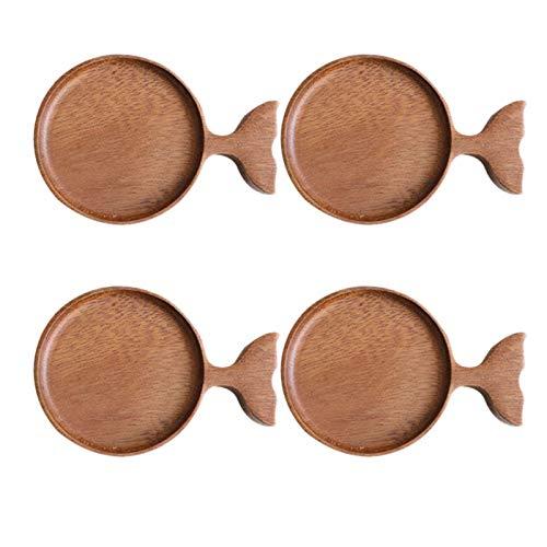 Tmand 4 Pezzi Piatti di Legno Piatti Sushi Snack Piatto di Salsa di Frutta Ristorante Hotel Home Piatto di Condimento Piatto A Forma di Pesce in Stile Giapponese