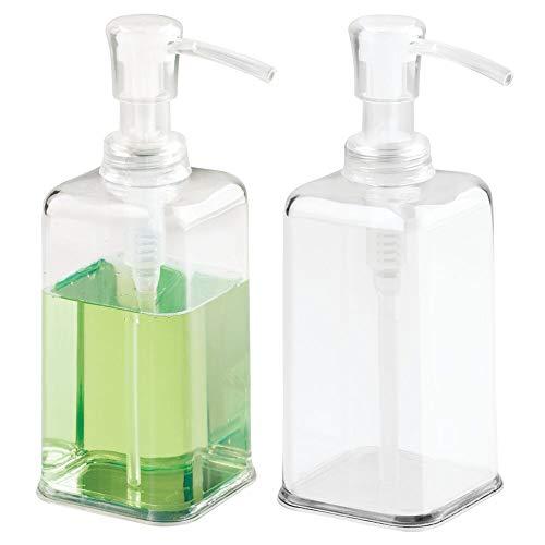mDesign Modern Plastic Refillable Liquid Soap Dispenser Pump Bottle for Bathroom Vanity Countertop, Kitchen Sink - Holds Hand Soap, Dish Soap, Hand Sanitizer, Essential Oils - 2 Pack - Clear