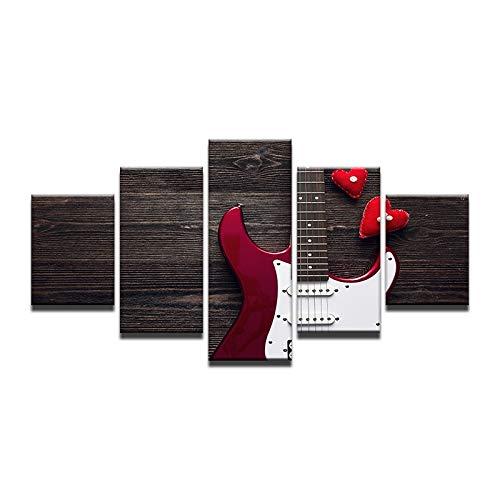 Gbwzz 5 stuks schilderijen op canvas gedrukt afbeeldingen Frame Living Room Wall Art Canvas Paintings 5 stuks liefde klassieke decoratie elektrische gitaar No Frame 40x60 40x80 40x100cm