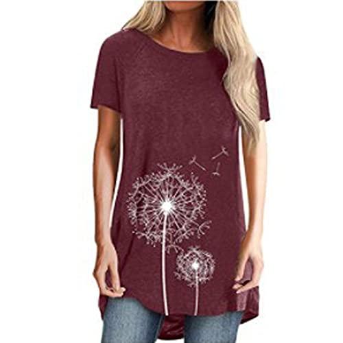 FMYONF Camiseta de manga corta para mujer con diseño de diente de león, cuello redondo, estilo informal, tallas grandes, tallas S-3XL (vino, S)