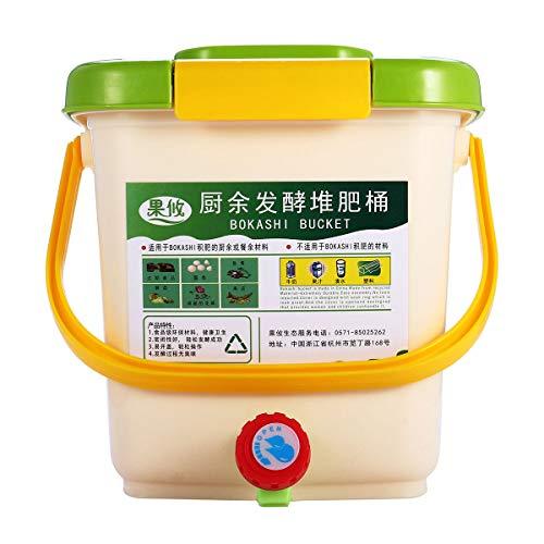 KUNSE 12L Aireado Compost Bins Bokashi Cubo Cocina Alimentos Desechos Jardín Reciclar Composter