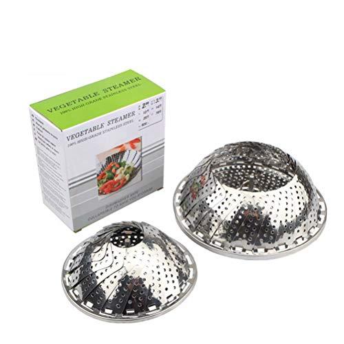 Sunrise-EU Faltbarer Dampfkorb für Gemüse verstellbar mit 3 Füßen aus Edelstahl zum Kochen von Gemüse und Lebensmitteln oder Obstkorb 18*8cm Onecolor