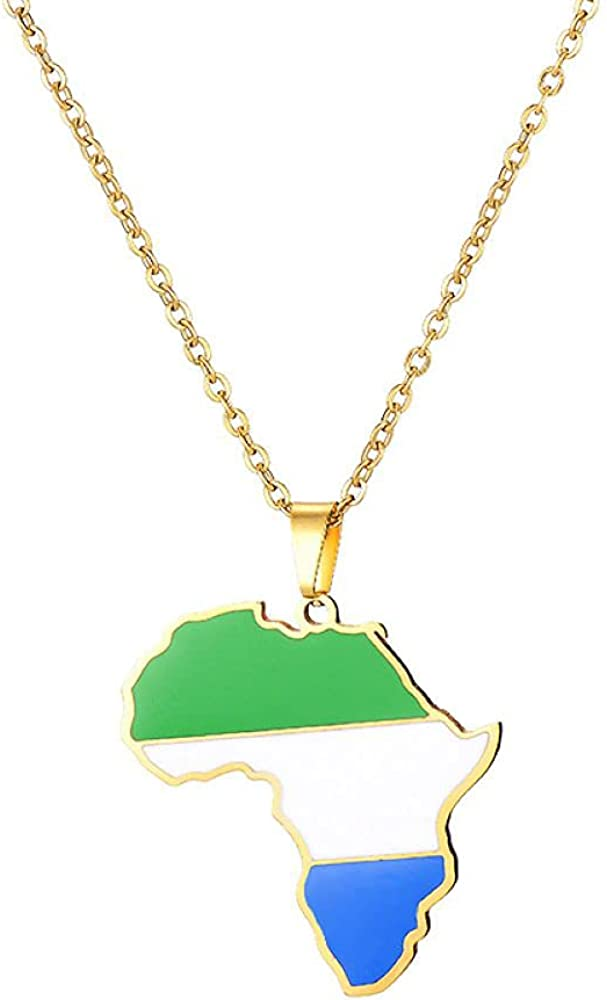 Multiple Designs 18K Gold Plated Africa Map Stainless Steel Pendant for Men Women Jewelry Gift