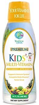 Premium Kids Liquid Multivitamin & Superfood -100% DV of 14 Vitamins for Kids Multi-Vitamin for Children Ages 4+ Great Tasting Non-GMO No Sugar - Max Absorption - 16 oz 32 Serv