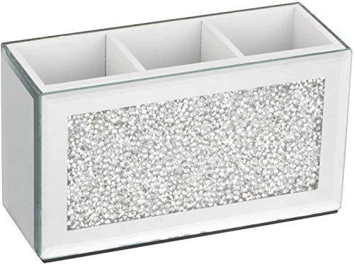Trio Makeup Brush Holder Organizer Storage Pot Filled with Crystal Crushed Diamonds Mirror Jewel Beauty Box, 3 Compartments (Silver)