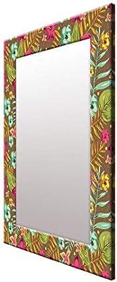 999Store Printed Multicolor Leaves Flowers Pattern Mirror