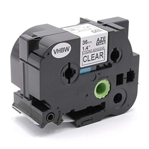 vhbw Schriftband Kassette 36mm weiß auf transparent extra stark für Etiketten-Drucker Brother P-Touch 3600, 530, 550, 550A, 9200, 9200DX, 9200PC
