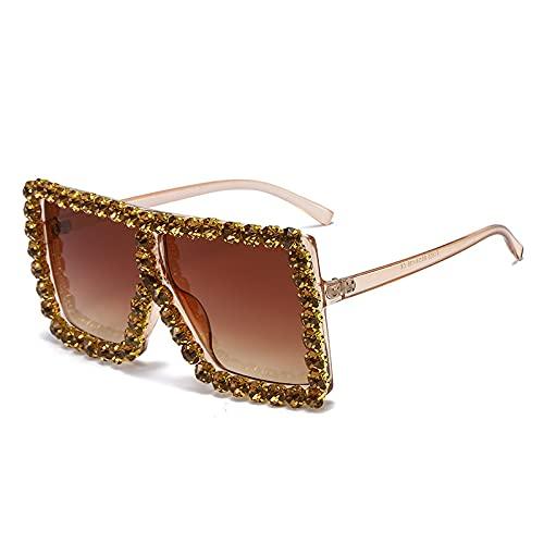 Gafas De Sol De Marco Grande Con Diamantes Tamaño medio Cambio gradual del marco de té