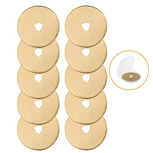 AUTOTOOLHOME Titanium Rotary Cutter Blades 60mm 10 Pack Replacement Quilting Scrapbooking Sewing Arts Crafts Farbric Paper Cutting Tool