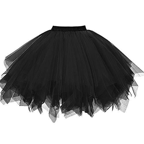 DresseverBrand Damen Petticoat 50er Rockabilly Jahre Retro Tutu Ballet Tüllrock Cosplay Crinoline Schwarz XX-Large