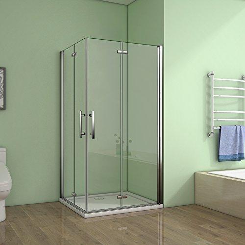 Cabine de douche 90x90x195cm verre anticalcaire porte pliante et pivotante